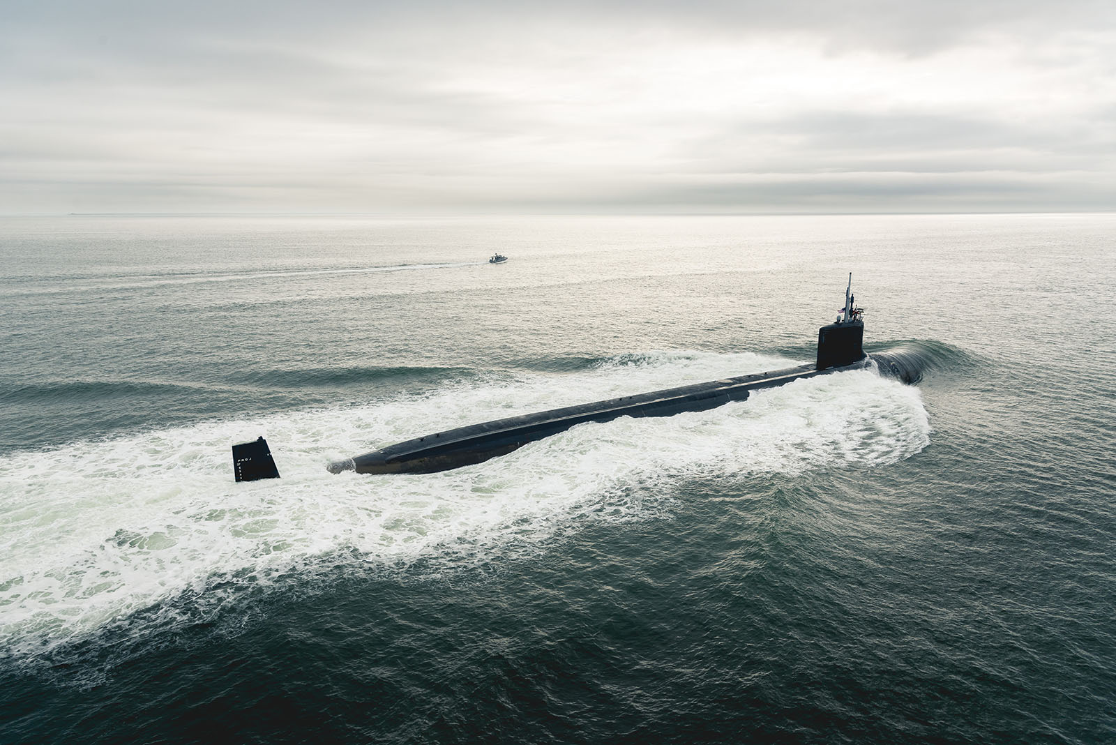 Indiana (SSN 789) departs for sea trials. The initial round of sea trials, known as alpha trials, provide the Virginia-class submarine an opportunity to test all systems and components.