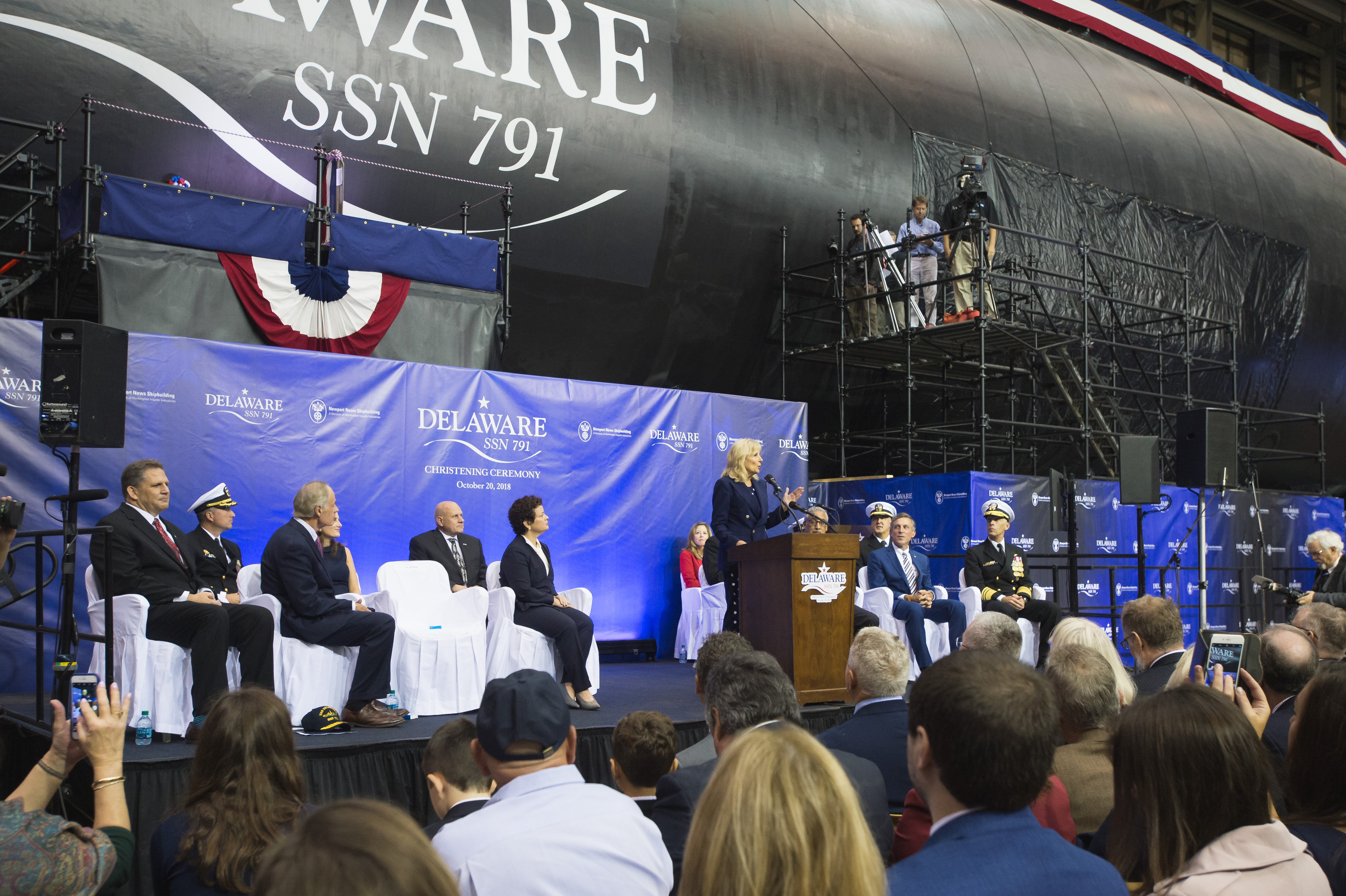 On Oct. 20, 2018, Newport News Shipbuilding christened Virginia-class submarine Delaware (SSN 791). Ship's Sponsor Dr. Jill Biden performed the ceremonial honor of breaking a bottle of American-made sparkling wine on the submarine's hull.